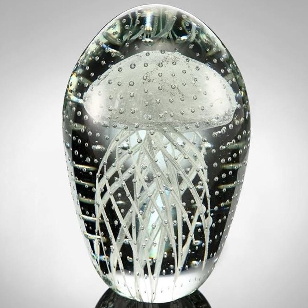 White Jellyfish Art Glass Crystal Sculpture   20110   SPI Home