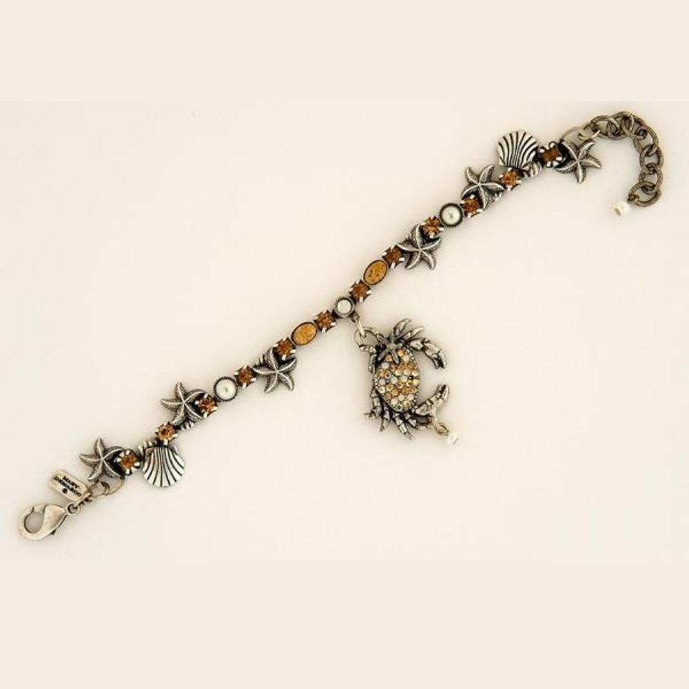 Crab Single Strand Starfish Charm Bracelet | La Contessa Jewelry | BR9172sand-crab