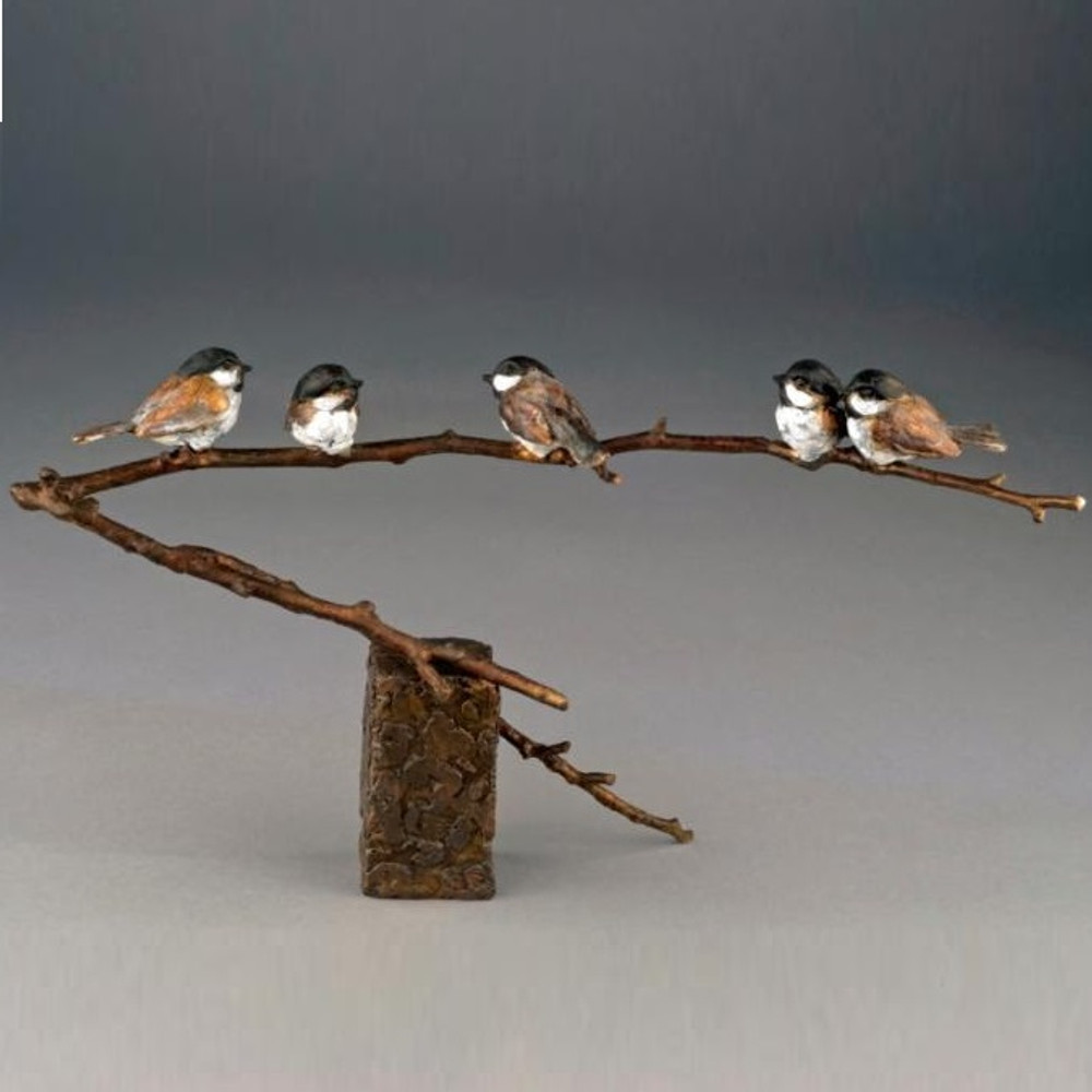 "Chickadee Bronze Sculpture ""Family Reunion"" 