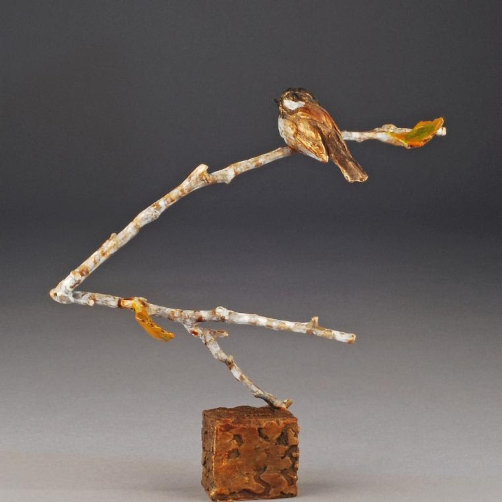 "Chickadee Bronze Sculpture ""High Perch"" 
