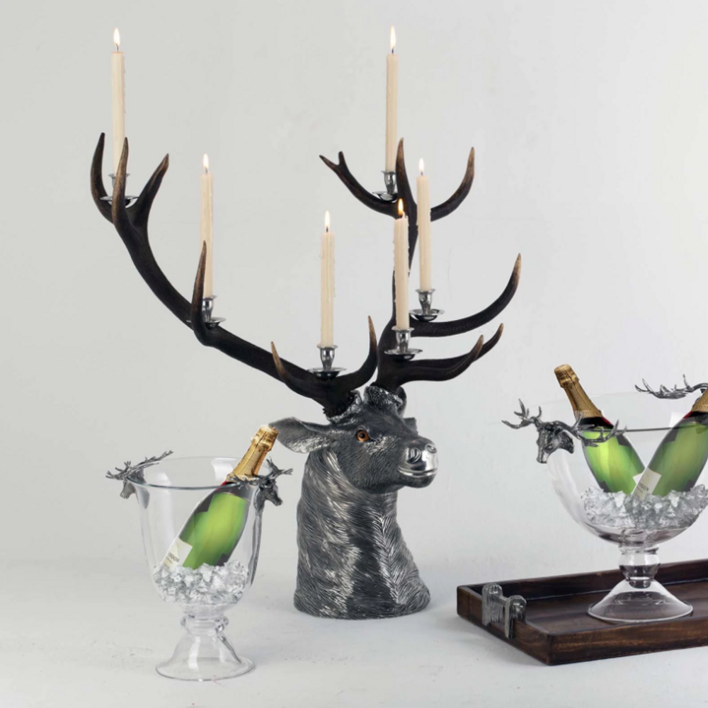 Elk Head Candlestick-6 Light   Vagabond House   A191EH