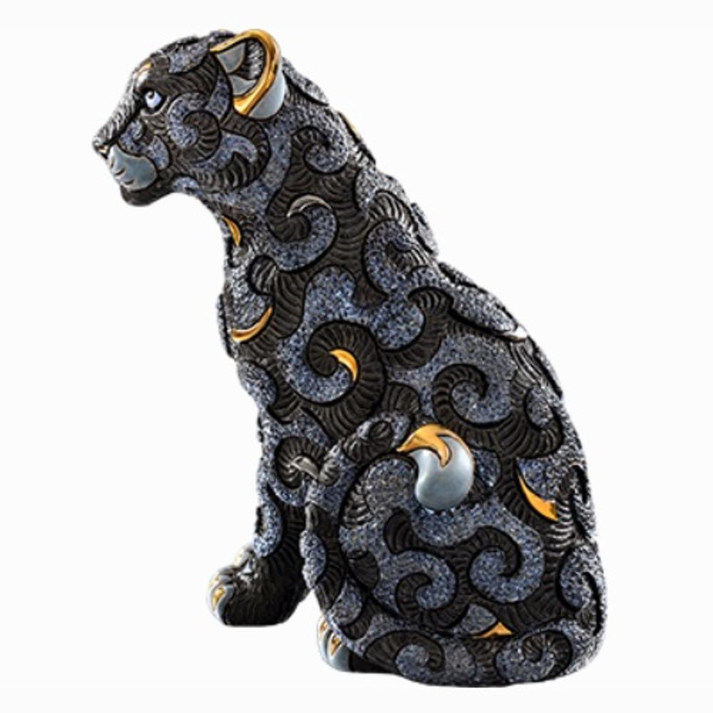 Black Panther with Arabesques Ceramic Figurine | De Rosa | Rinconada | DER461