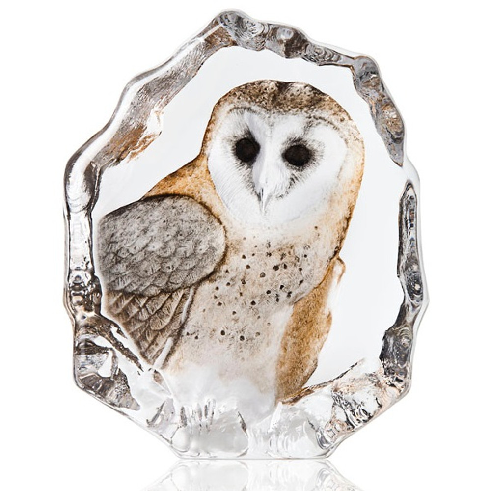 Barn Owl Painted Crystal Sculpture | 34200 | Mats Jonasson Maleras