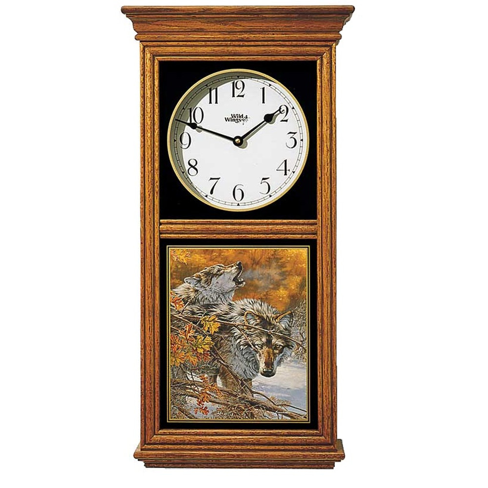 Wolf Oak Wood Regulator Wall Clock | Wild Wings | 5982662571