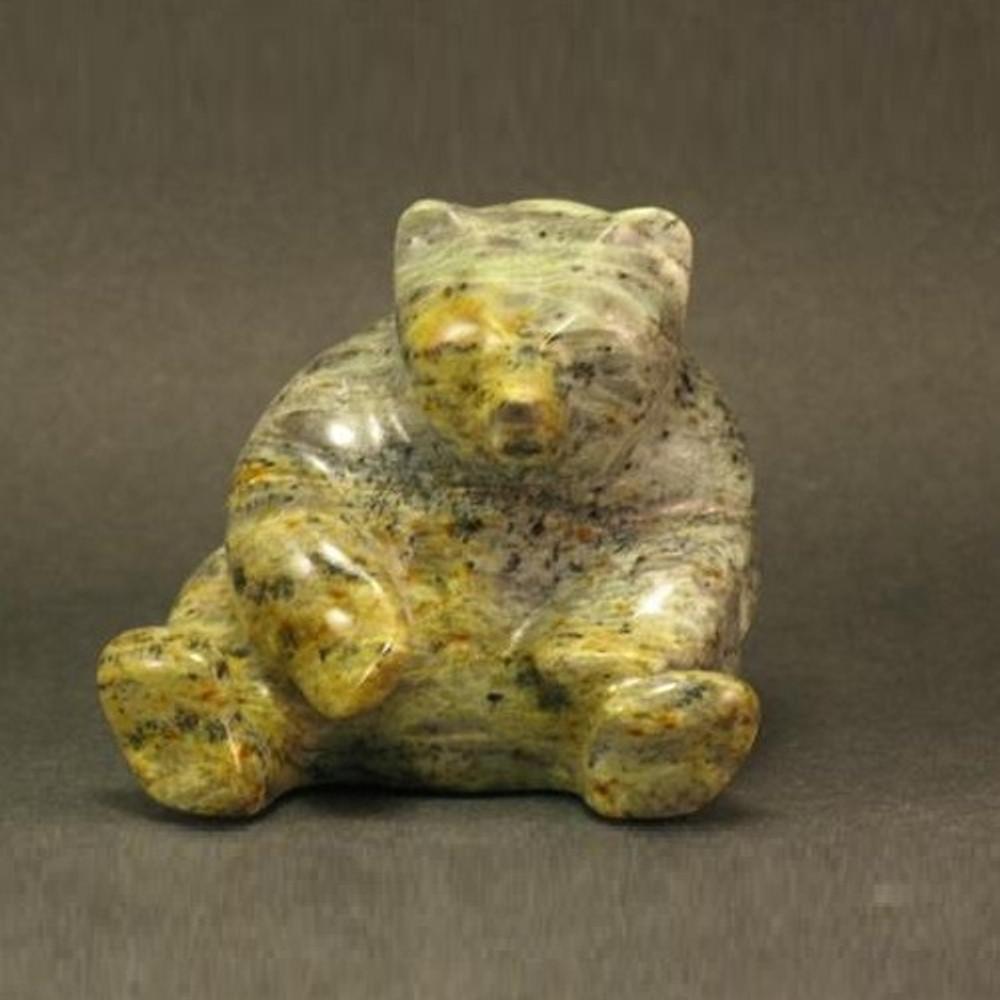Bear Sitting Stone Sculpture | Douglas Creek | 1000-