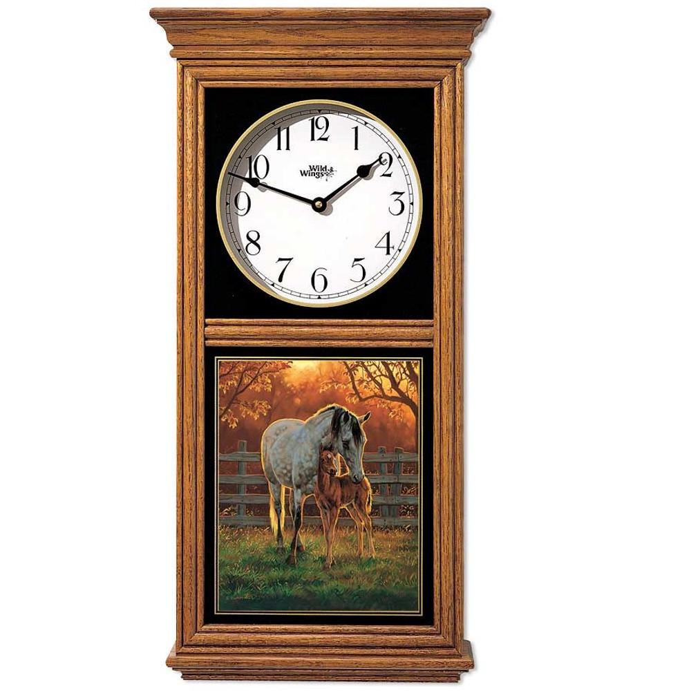 Horse Oak Wood Regulator Wall Clock | Wild Wings | 5982662681