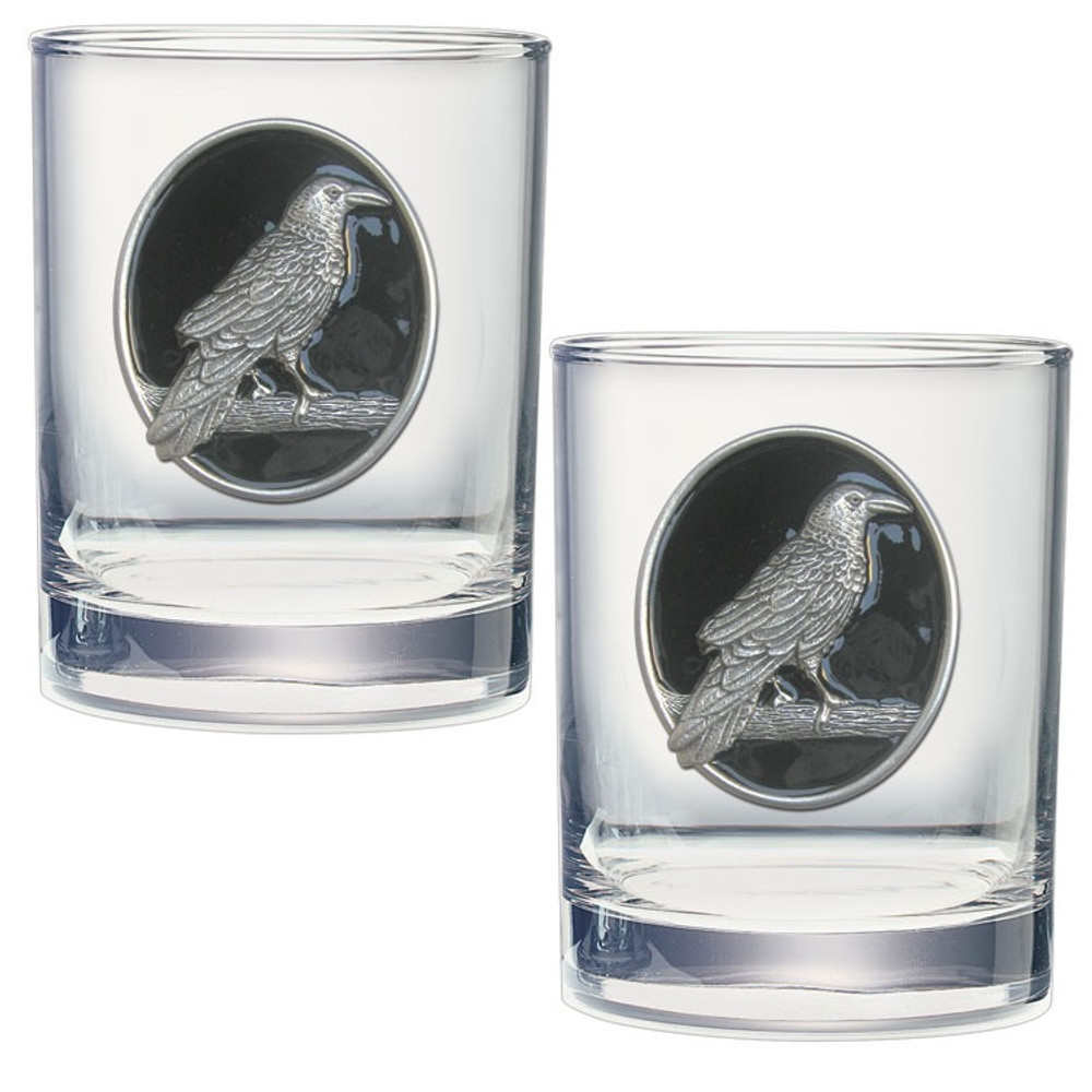 Raven Double Old Fashioned Glass Set of 2 | Heritage Pewter | DOF4277EBK