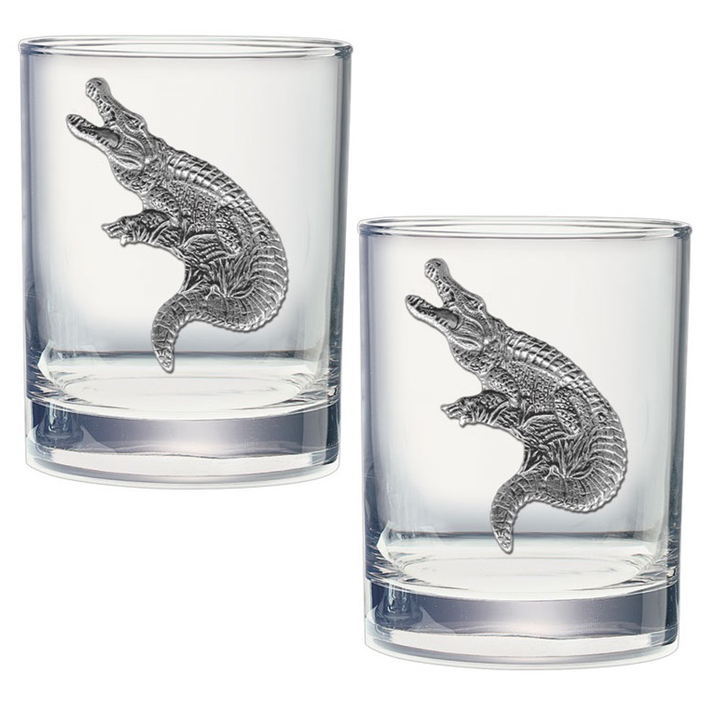 Alligator Double Old Fashioned Glass Set of 2 | Heritage Pewter | DOF3770 -2