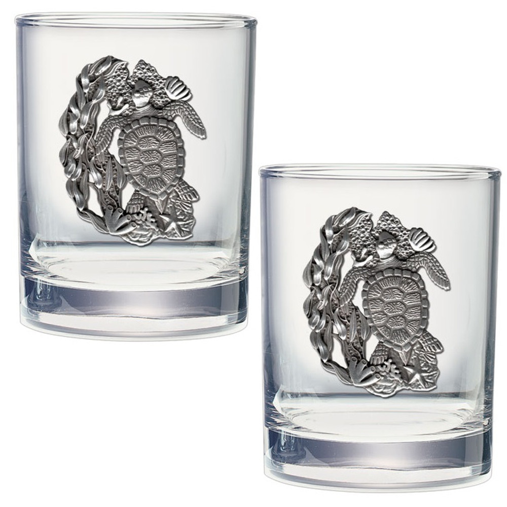 Sea Turtle Double Old Fashioned Glass Set of 2 | Heritage Pewter | DOF4146