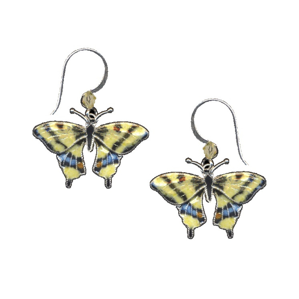 Swallowtail Butterfly Cloisonne Wire Earrings | Bamboo Jewelry | 0004e