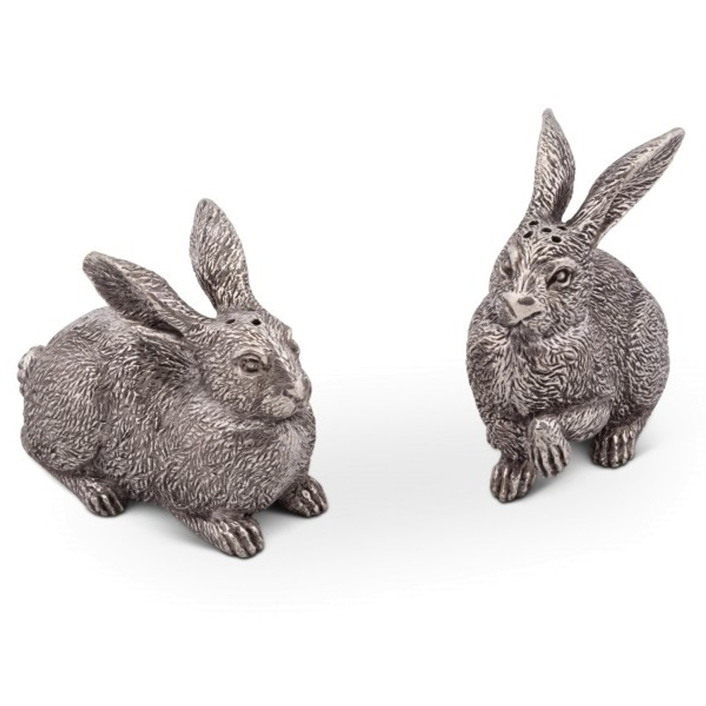 Wild Hare Pewter Rabbit Salt Pepper Shakers | Vagabond House | G116WH