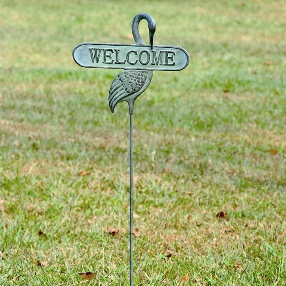 Welcoming Crane Garden Stake | 33290 | SPI Home