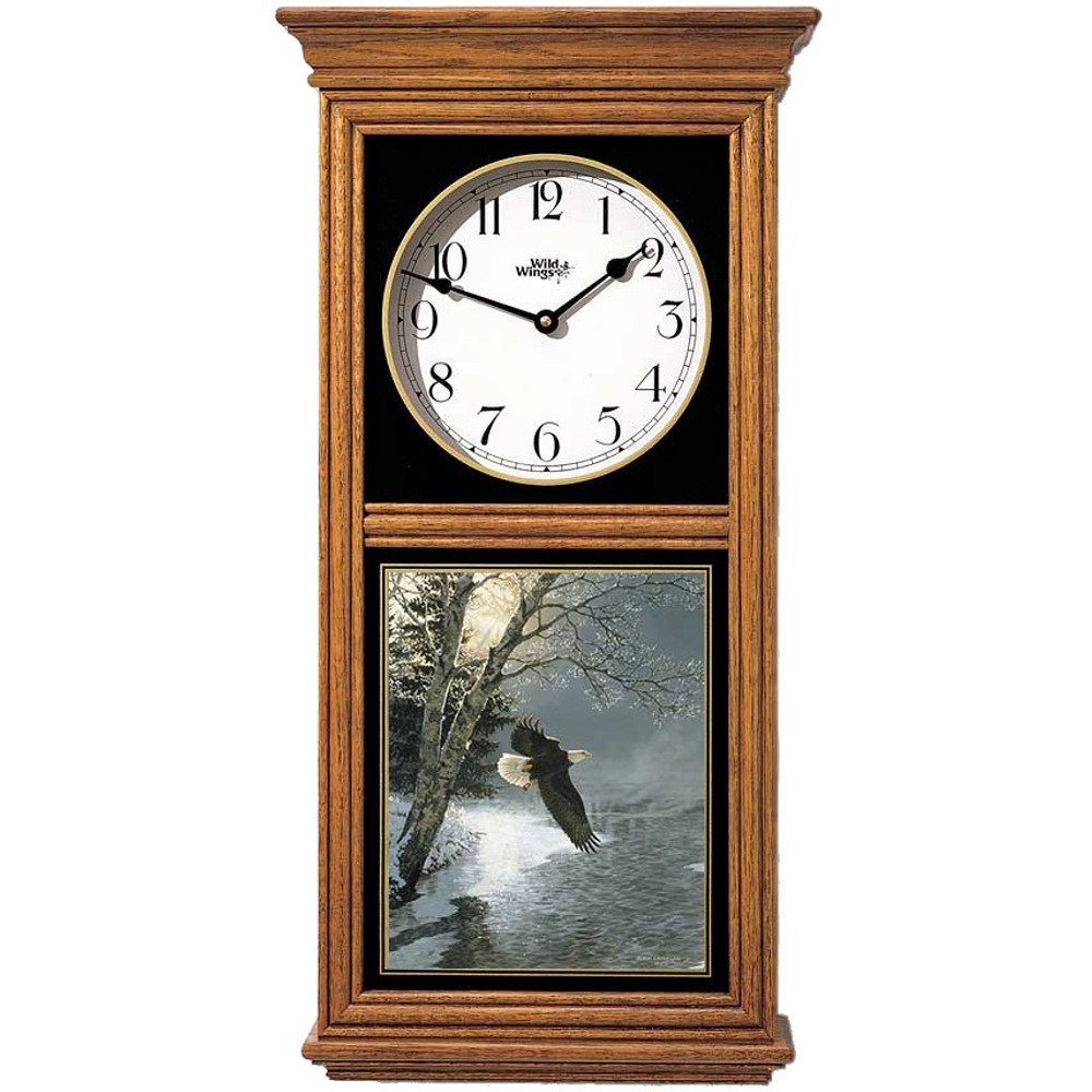 Eagle Oak Wood Regulator Wall Clock | Wild Wings | 5982662532