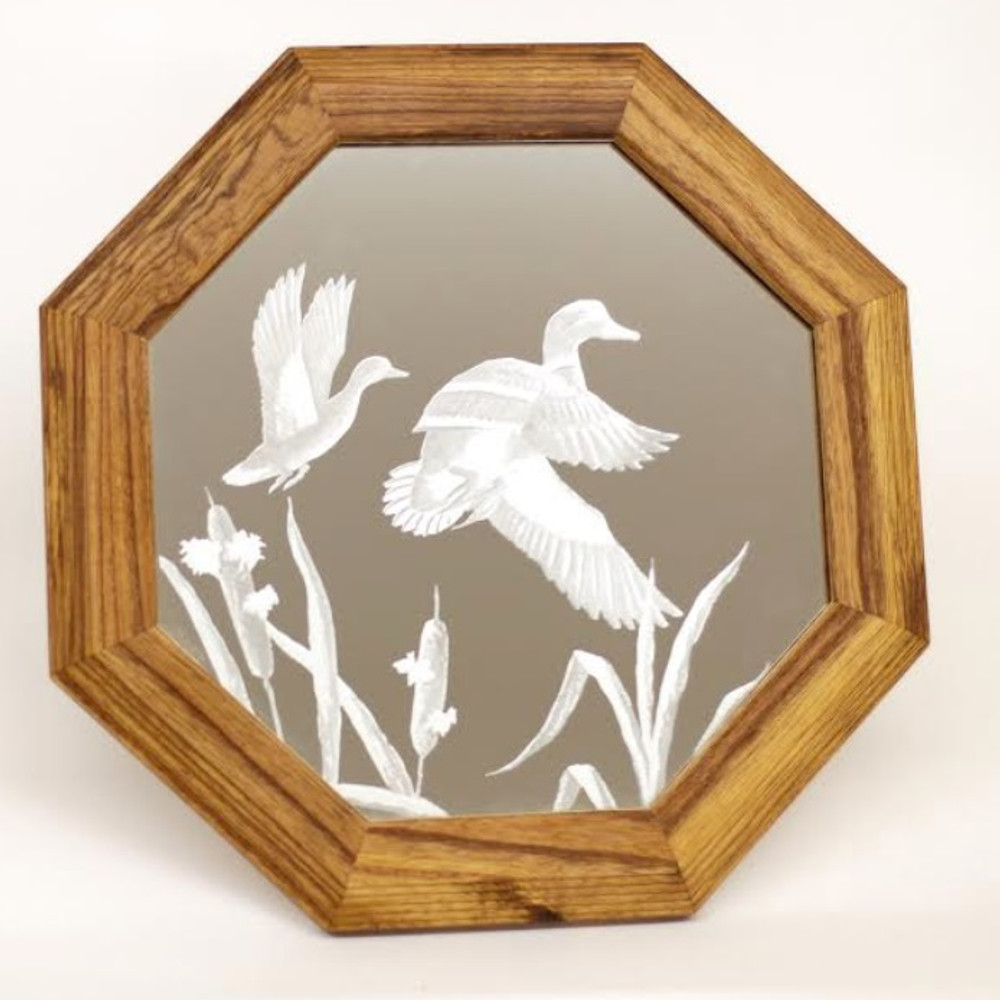 "Duck Oak Mirror ""Cattail Mallards"" 