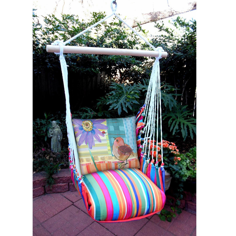 "Bird and Daisy Hammock Chair Swing ""Le Jardin""   Magnolia Casual   LJRRPDB-SP"