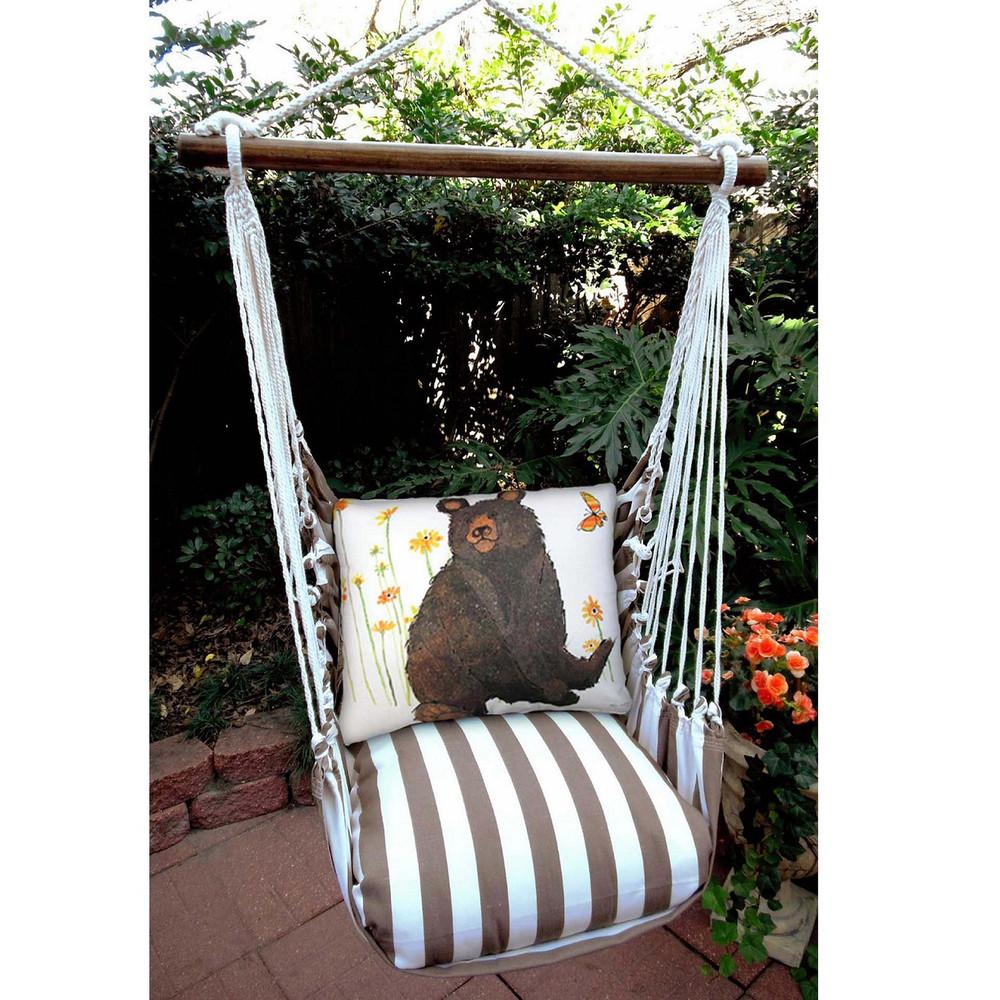 "Bear Hammock Chair Swing ""Striped Chocolate"" | Magnolia Casual | SCRR506SP"