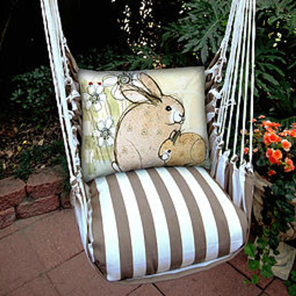 "Bunny Rabbit Hammock Chair Swing ""Striped Chocolate"" | Magnolia Casual | SCRRBWF-SP -2"