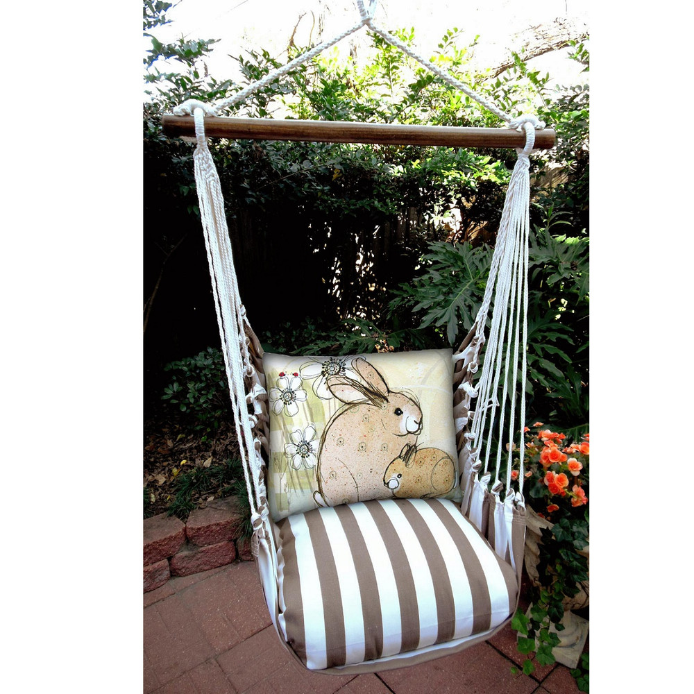 "Bunny Rabbit Hammock Chair Swing ""Striped Chocolate"" 
