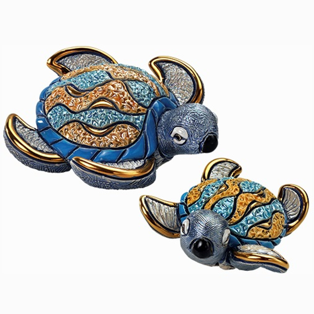 Hawksbill Sea Turtle and Baby Ceramic Figurine Set | De Rosa | F184-F384