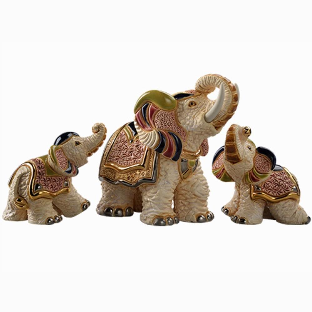 White Asian Elephant and Babies Ceramic Figurine Set   De Rosa   F187-F387A-F387B