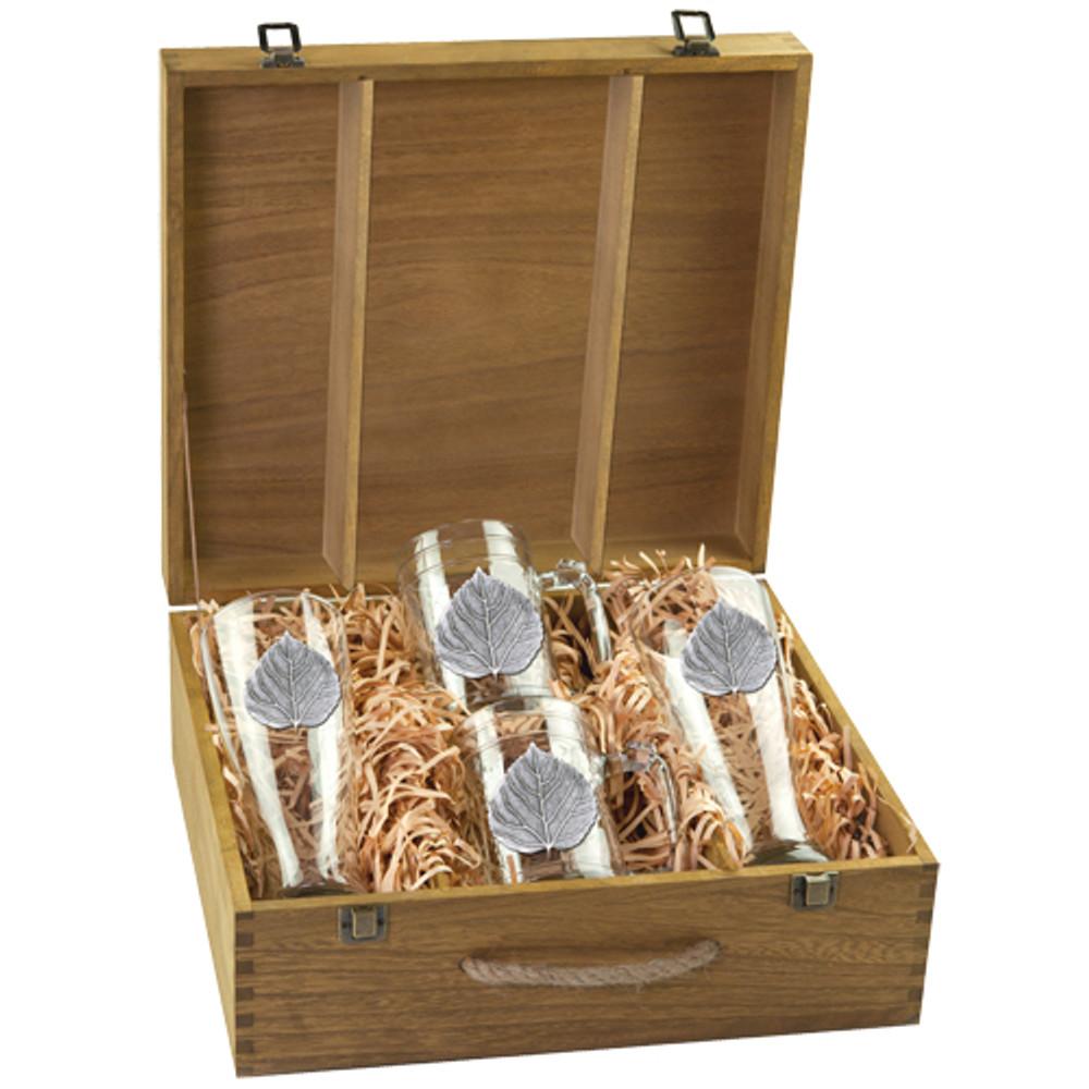 Aspen Leaf Beer Glass Boxed Set | Heritage Pewter | HPIBSB4051