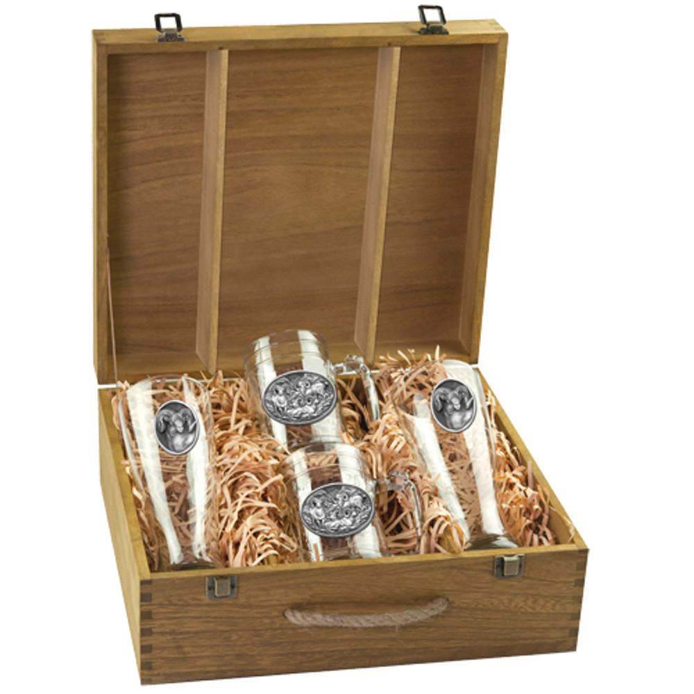Bighorn Sheep Beer Glass Boxed Set | Heritage Pewter | HPIBSB115