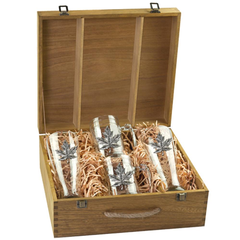 Maple Leaf Beer Glass Boxed Set | Heritage Pewter | HPIBSB4111