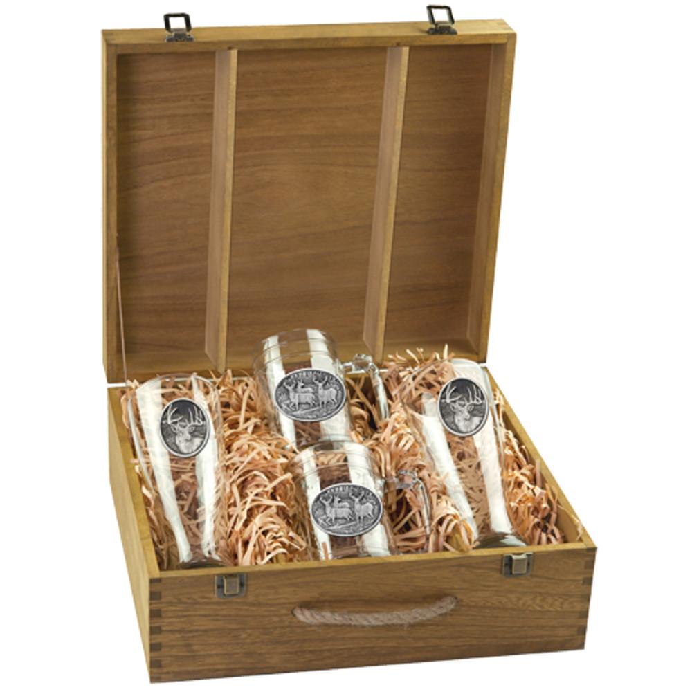Whitetail Deer Beer Glass Boxed Set | Heritage Pewter | HPIBSB114