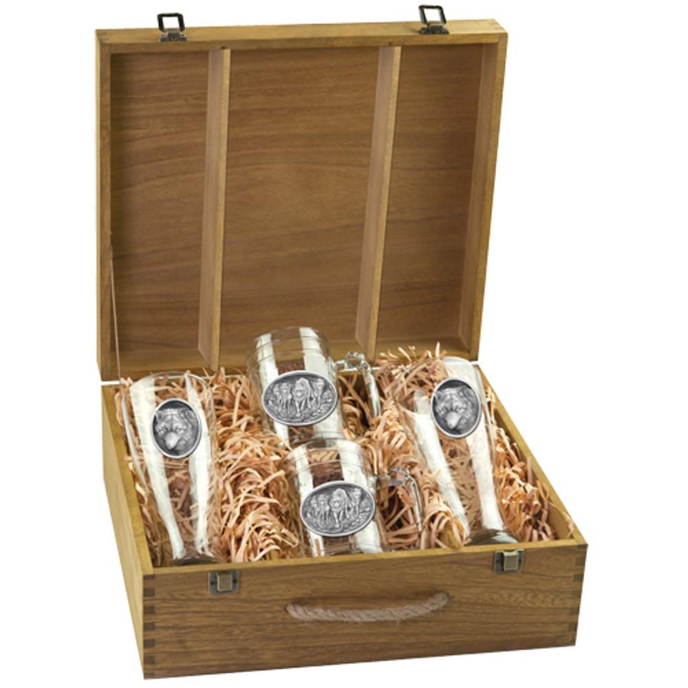 Wolf Beer Glass Boxed Set | Heritage Pewter | HPIBSB102