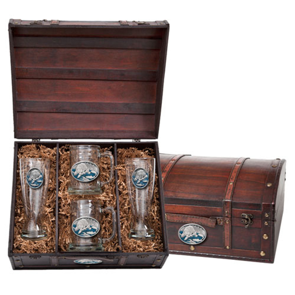 Brown Bear Beer Glass Chest Set | Heritage Pewter | HPIBCS118EB