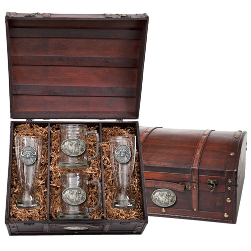 Cape Buffalo Beer Glass Chest Set | Heritage Pewter | HPIBCS121