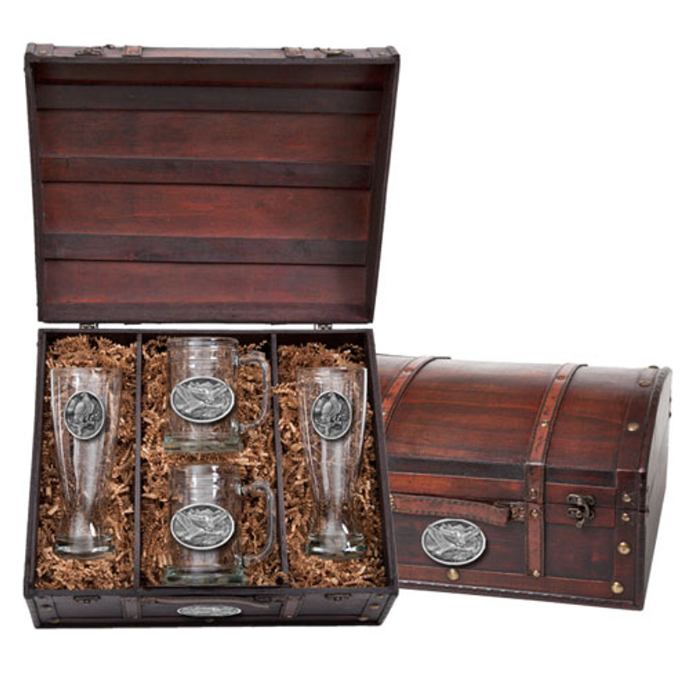 Eagle Beer Glass Chest Set | Heritage Pewter | HPIBCS109
