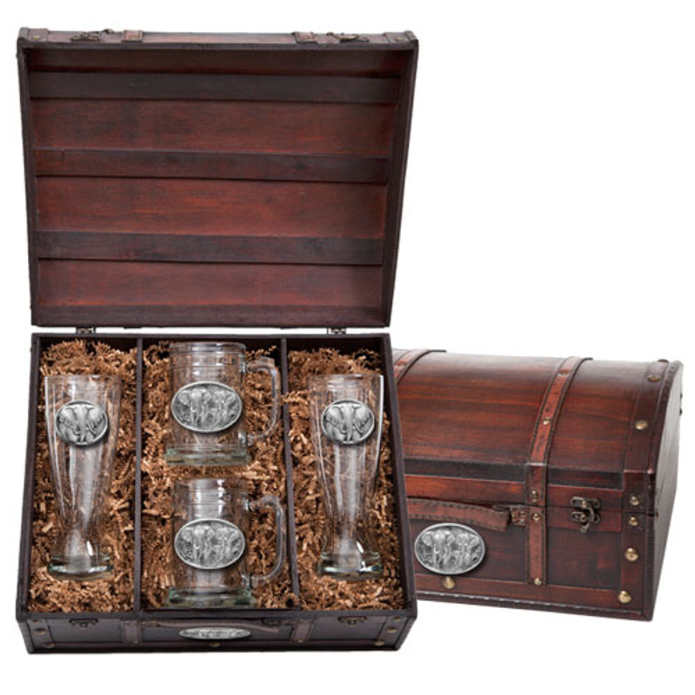 Elephant Beer Glass Chest Set | Heritage Pewter | HPIBCS120