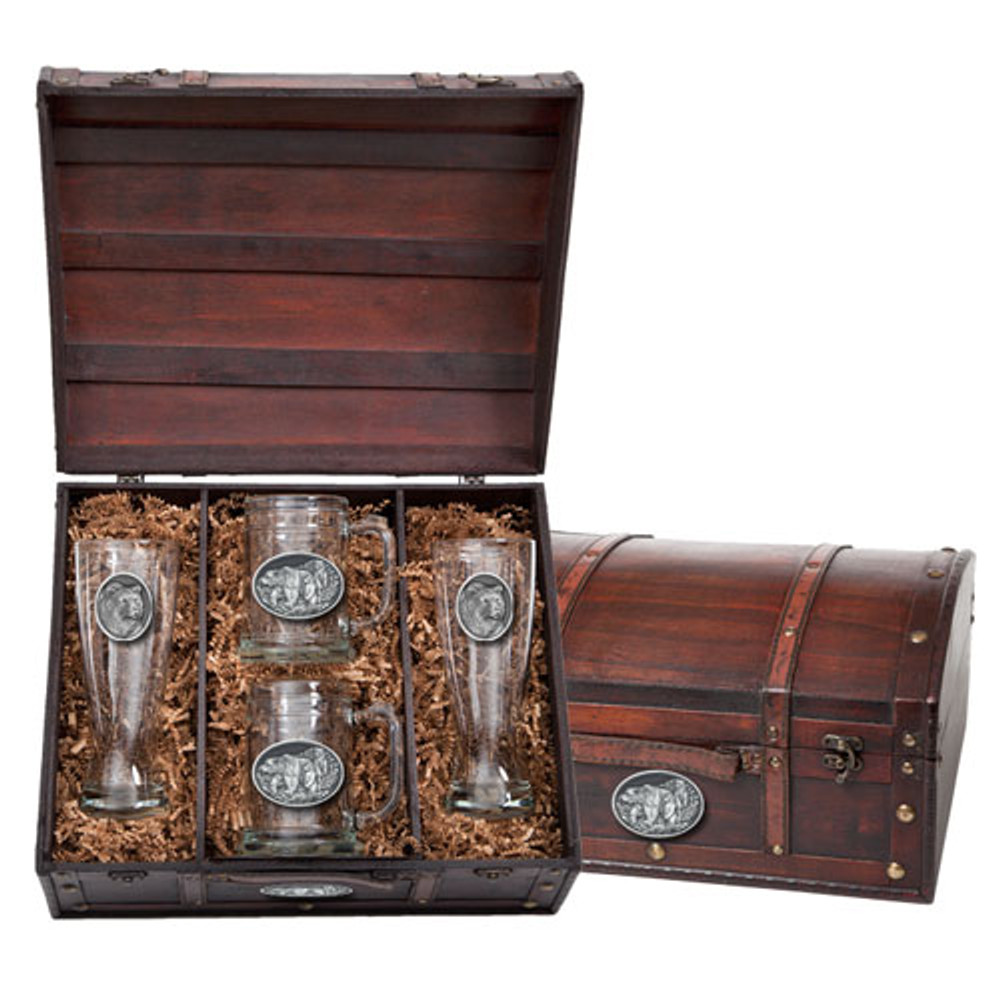 Grizzly Bear Beer Glass Chest Set | Heritage Pewter | HPIBCS105