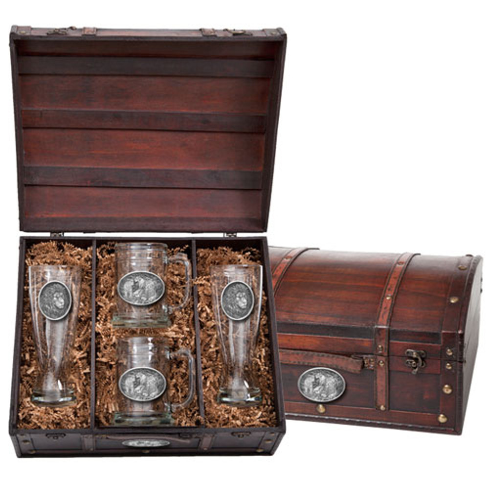 Lion Beer Glass Chest Set | Heritage Pewter | HPIBCS119