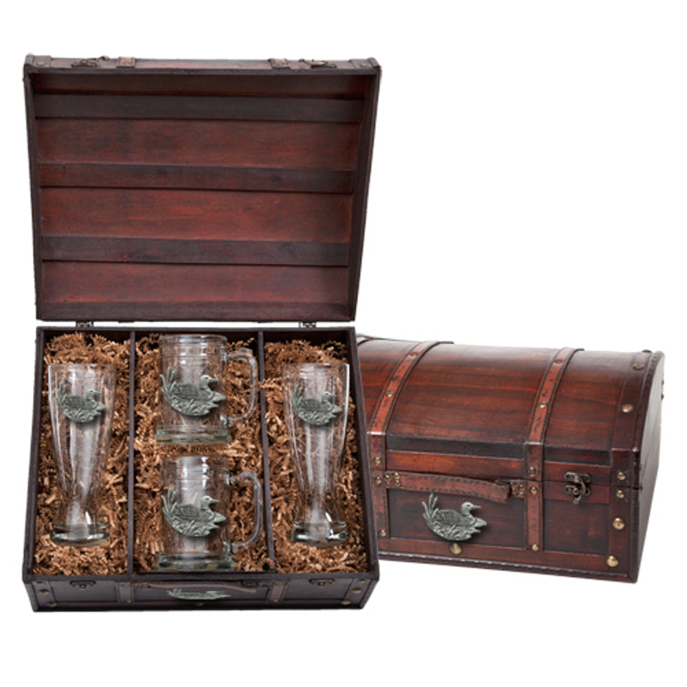 Loon Beer Glass Chest Set | Heritage Pewter | HPIBCS4074