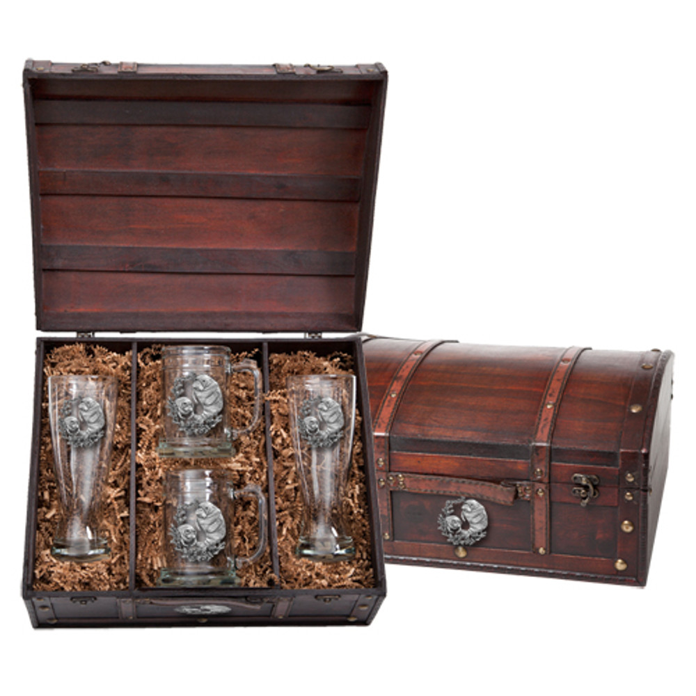 Manatee Beer Glass Chest Set   Heritage Pewter   HPIBCS4110