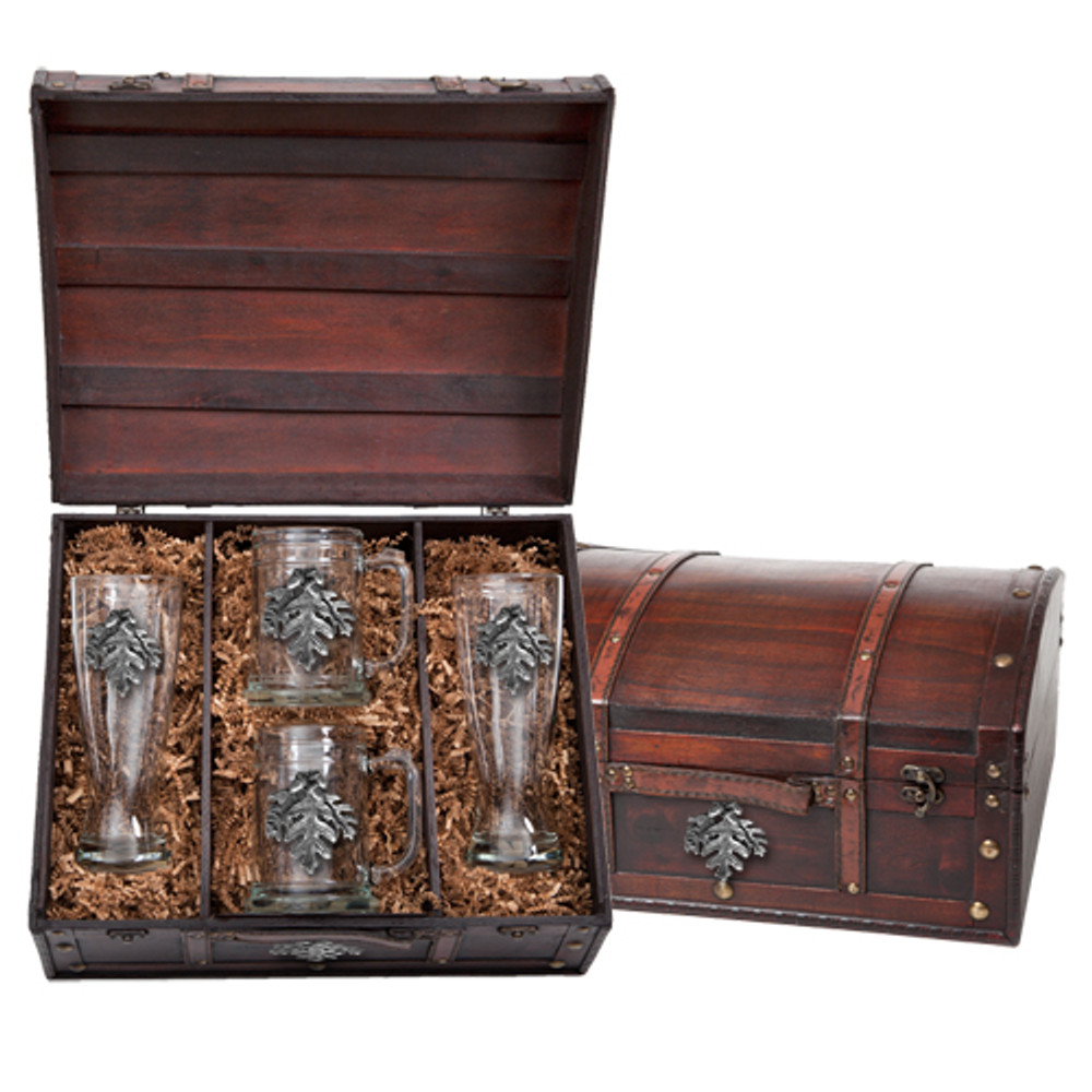Oak Leaf Beer Glass Chest Set | Heritage Pewter | HPIBCS4136