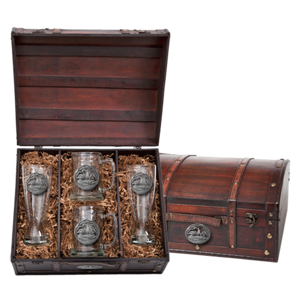 Wood Duck Beer Glass Chest Set   Heritage Pewter   HPIBCS4085