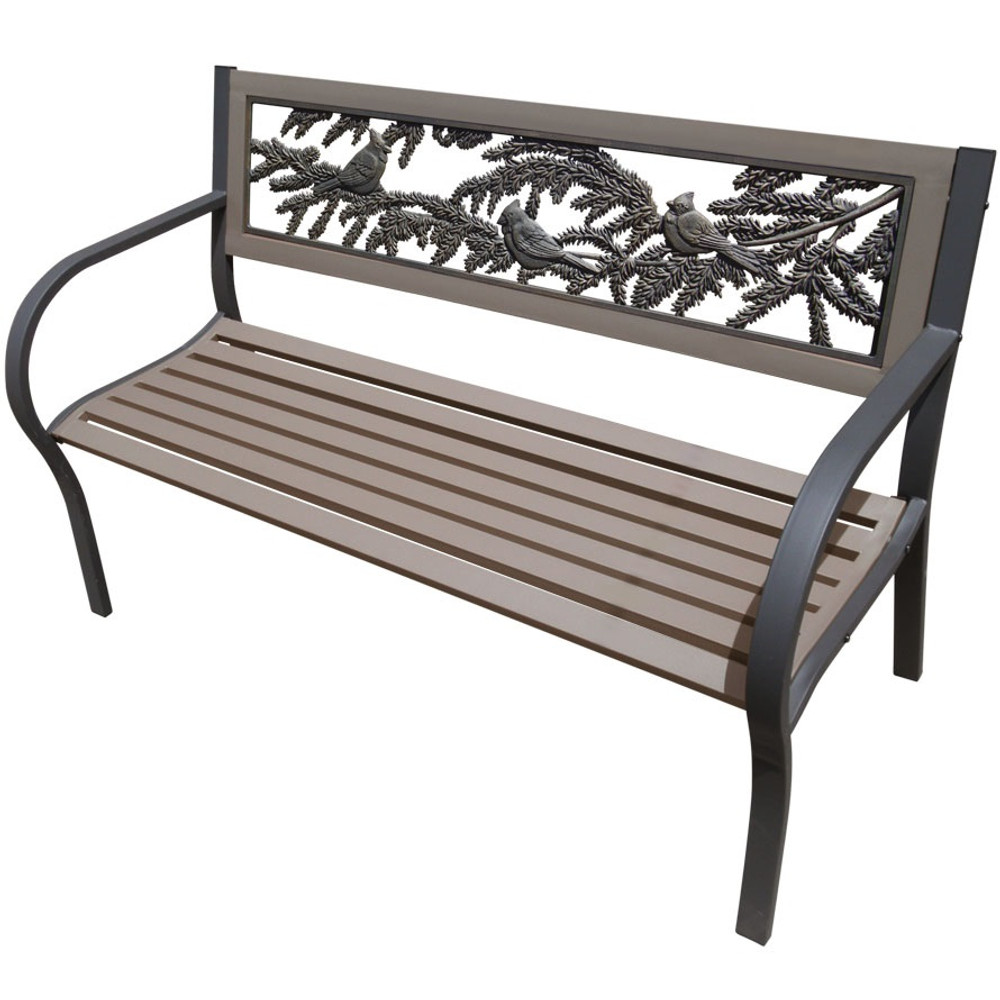 Cardinals 2-Tone Tube Steel Outdoor Bench | Painted Sky | TSB2-CA