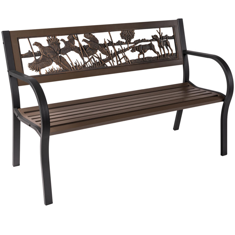 Pheasant 2-Tone Tube Steel Outdoor Bench   Painted Sky   TSB2-PH