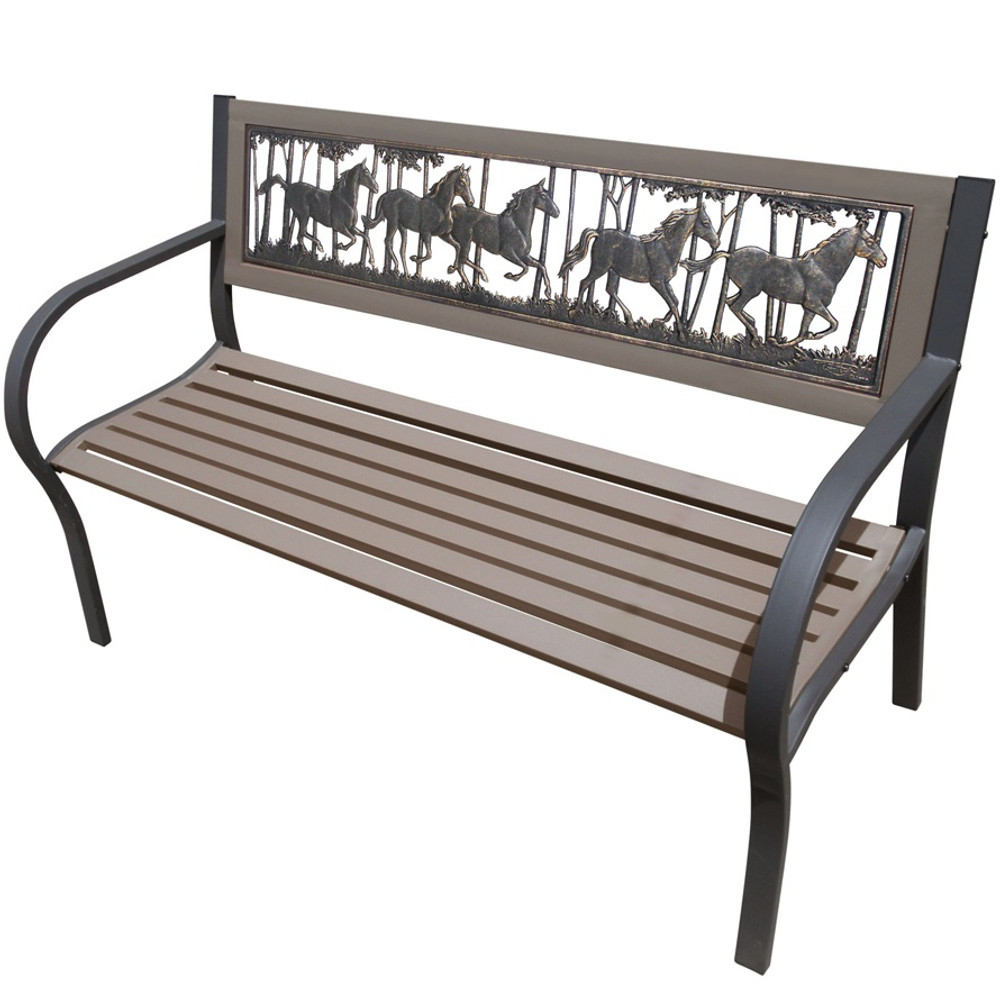 Horse Running 2-Tone Tube Steel Outdoor Bench   Painted Sky   TSB2-RH