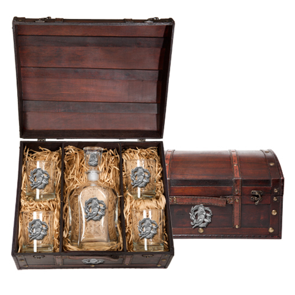 Sea Otter Capitol Decanter Chest Set | Heritage Pewter | HPICPTC4187