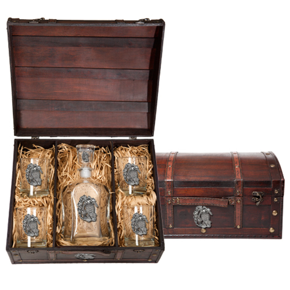 Sea Turtle Capitol Decanter Chest Set | Heritage Pewter | HPICPTC4146