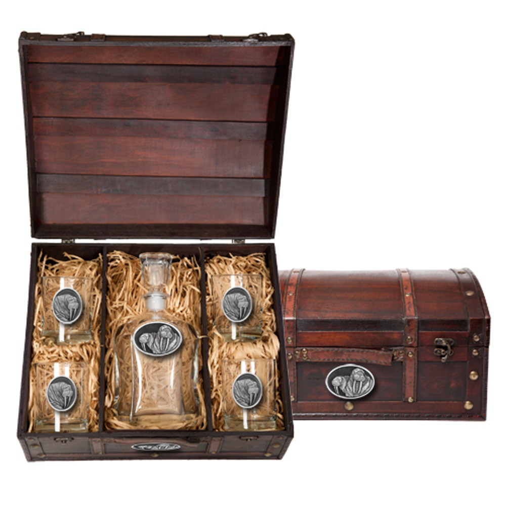 Walrus Capitol Decanter Chest Set | Heritage Pewter | HPICPTC106