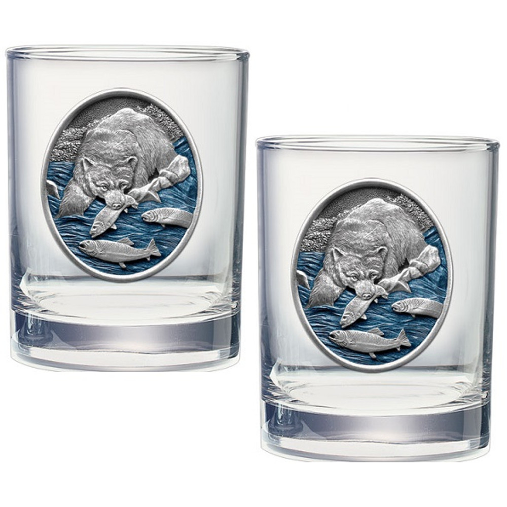 Brown Bear Double Old Fashioned Glass Set of 2 | Heritage Pewter | HPIDOF221EB