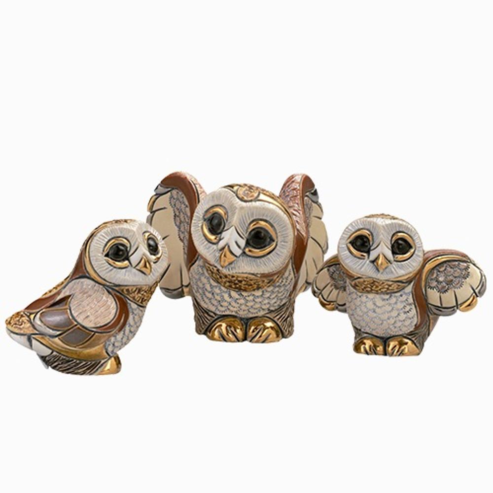 Barn Owl Family Ceramic Figurine Set | De Rosa | Rinconada | F105-F309-F310
