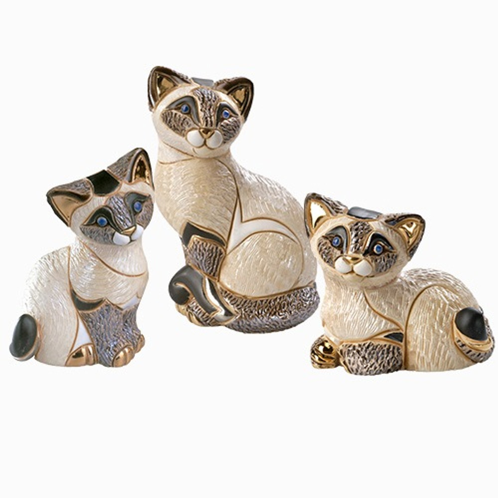 Siamese Cat Family Ceramic Figurine Set | De Rosa | Rinconada | F122-F322-F322B