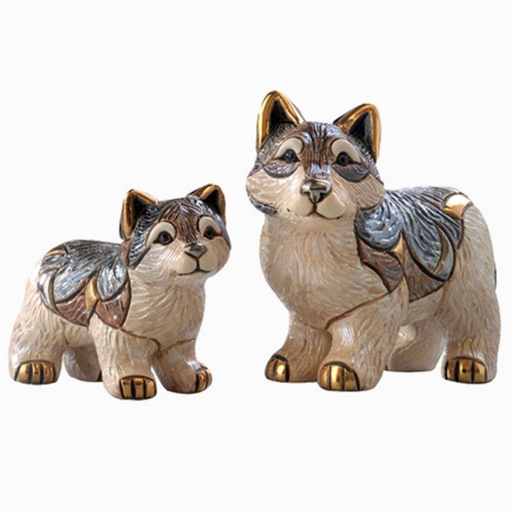 Wolf and Baby Ceramic Figurine Set | De Rosa | Rinconada | F136-F336