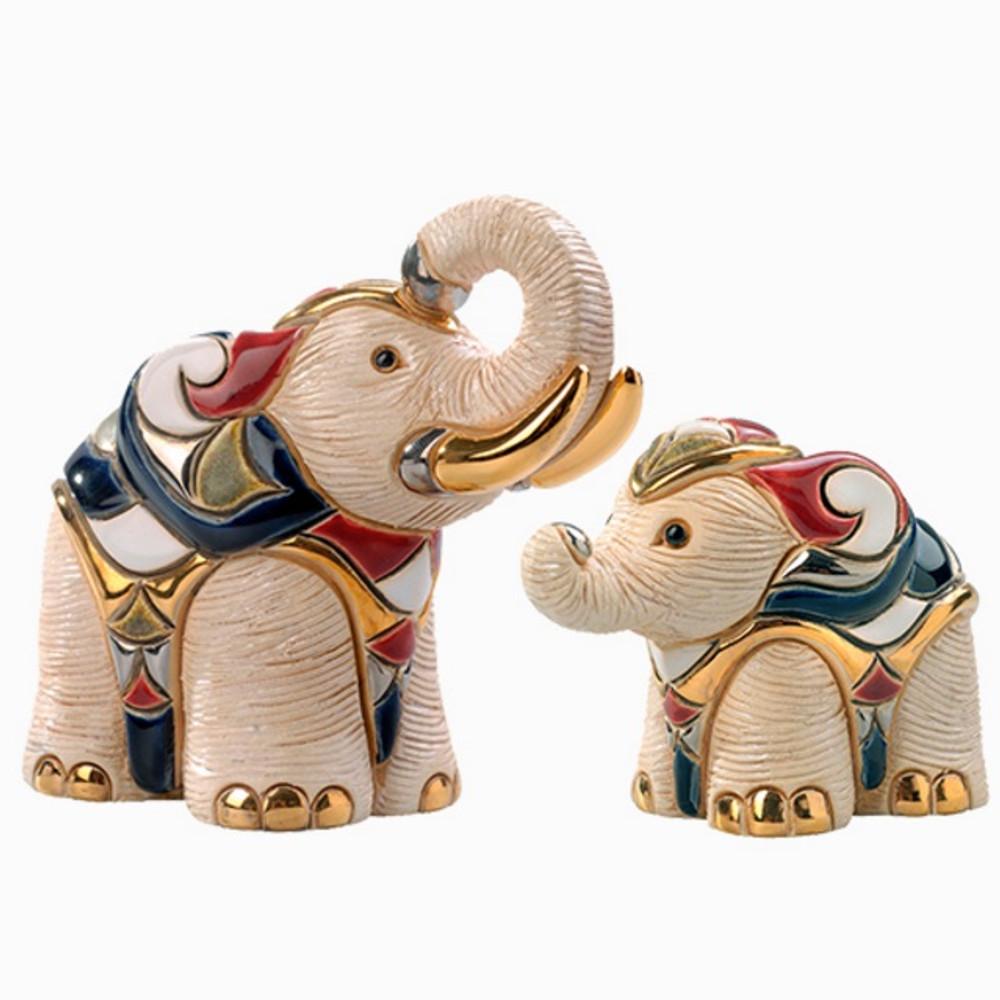 White Elephant and Baby Ceramic Figurine Set | De Rosa | Rinconada | F131-F331
